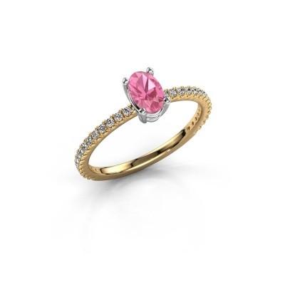 Foto van Verlovingsring Lynelle 2 585 goud roze saffier 6x4 mm