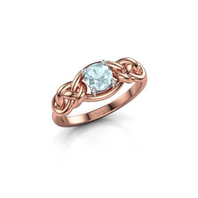 Foto van Ring Zoe 585 rosé goud aquamarijn 5 mm
