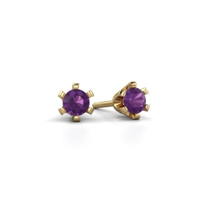 Picture of Stud earrings Shana 375 gold amethyst 4 mm