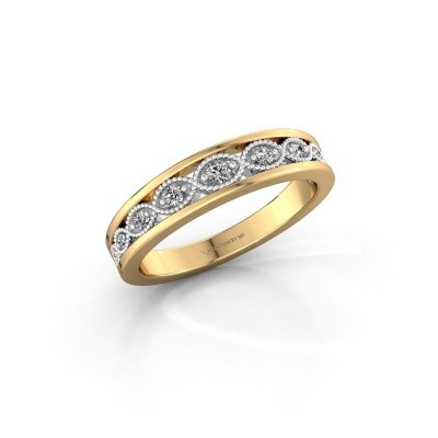 Bague superposable Laine 585 or jaune zircone 2 mm