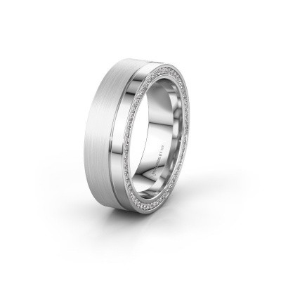 Wedding ring WH0313L16B 585 white gold zirconia ±0.24x0.08 in