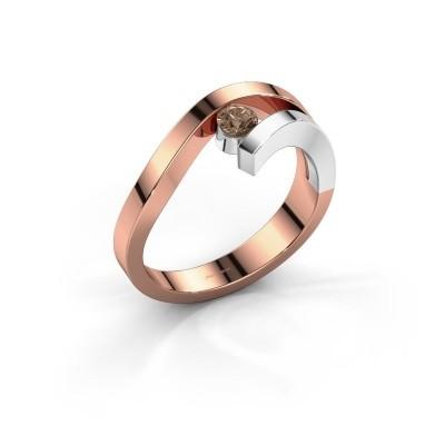 Ring Evalyn 1 585 rosé goud bruine diamant 0.20 crt