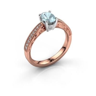 Verlovingsring Shonta OVL 585 rosé goud aquamarijn 7x5 mm