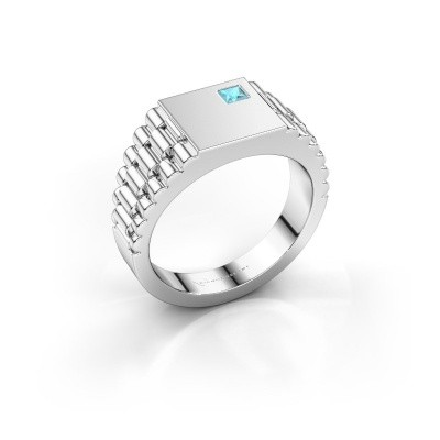 Picture of Men's ring Pelle 585 white gold blue topaz 3 mm
