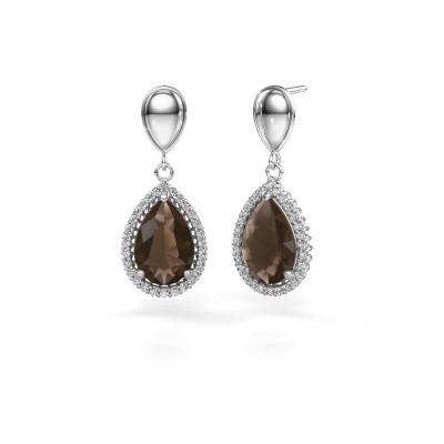 Drop earrings Cheree 1 950 platinum smokey quartz 12x8 mm