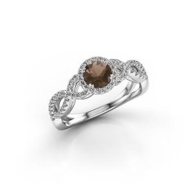 Engagement ring Dionne rnd 585 white gold smokey quartz 5 mm