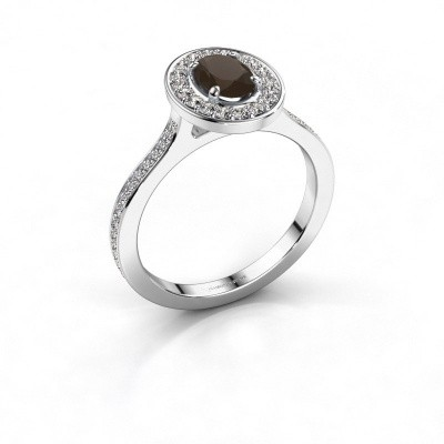 Ring Madelon 2 950 platina rookkwarts 7x5 mm