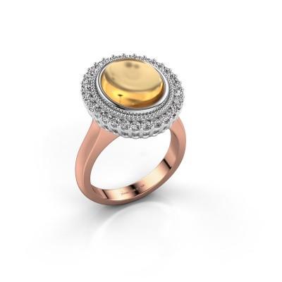 Ring Mila 585 rosé goud citrien 12x10 mm
