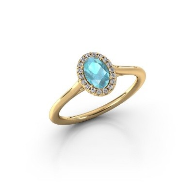 Engagement ring Seline 1 375 gold blue topaz 6x4 mm