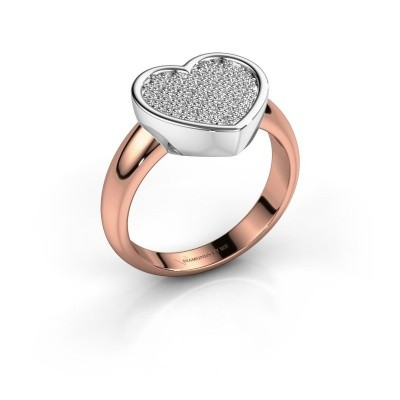 Ring Veerle 585 rosé goud zirkonia 1 mm