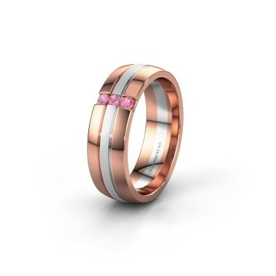 Wedding ring WH0426L26A 585 rose gold pink sapphire ±0.24x0.07 in