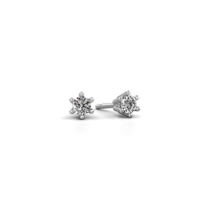 Photo de Boucles d'oreilles Fay 585 or blanc diamant synthétique 0.15 crt