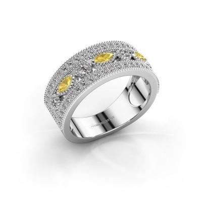 Ring Henna 925 zilver gele saffier 4x2 mm