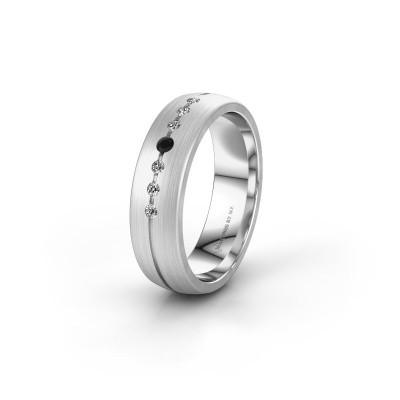 Wedding ring WH0162L25A 950 platinum black diamond ±0.22x0.07 in