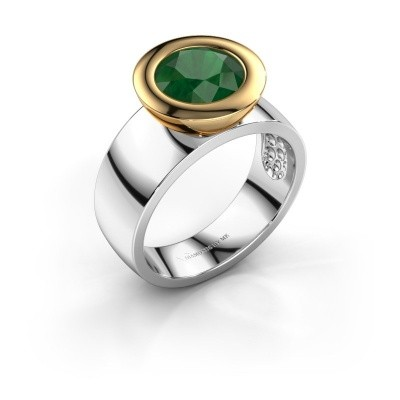 Ring Maxime 585 witgoud smaragd 8 mm