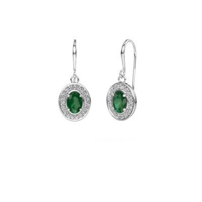 Foto van Oorhangers Layne 1 585 witgoud smaragd 6.5x4.5 mm