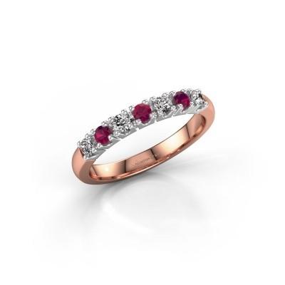 Foto van Belofte ring Rianne 7 585 rosé goud rhodoliet 2.4 mm