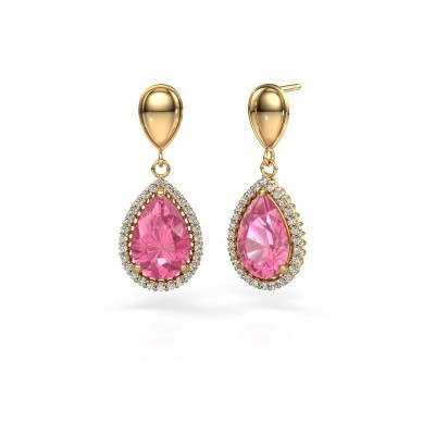 Drop earrings Cheree 1 585 gold pink sapphire 12x8 mm