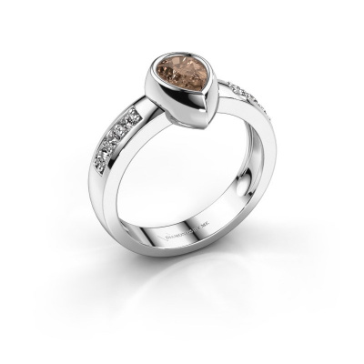 Ring Charlotte Pear 585 white gold brown diamond 0.80 crt
