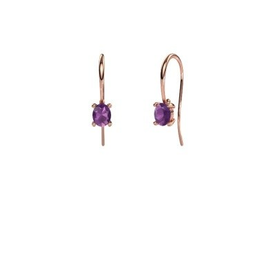 Picture of Drop earrings Cleo 375 rose gold amethyst 6x4 mm