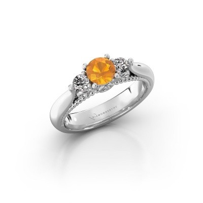 Photo de Bague de fiançailles Tiffani 585 or blanc citrine 5 mm