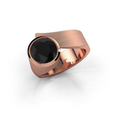 Ring Nakia 375 rosé goud zwarte diamant 2.40 crt