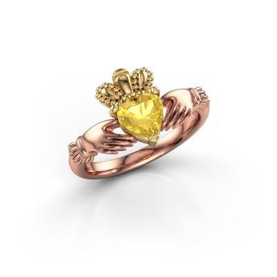 Foto van Ring Claddagh 2 585 rosé goud gele saffier 6 mm