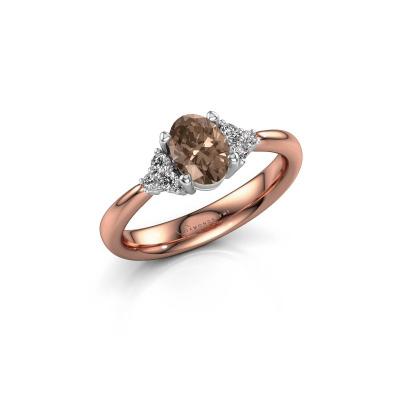 Foto van Verlovingsring Aleida OVL 1 585 rosé goud bruine diamant 0.93 crt