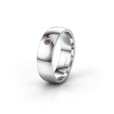 Foto van Trouwring WH0101L26AP 950 platina bruine diamant ±6x1.4 mm