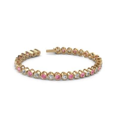 Foto van Tennisarmband Allegra 375 goud roze saffier 4 mm