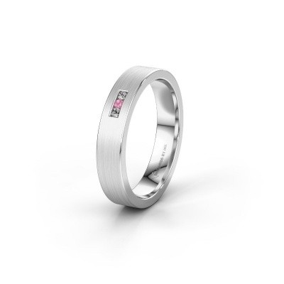 Wedding ring WH0106L14AM 925 silver pink sapphire ±0.16x0.07 in