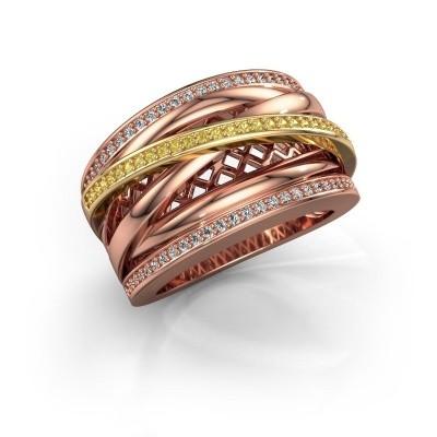 Foto van Ring Tabita 585 rosé goud gele saffier 1 mm