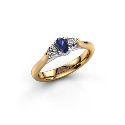 Verlovingsring Jente OVL 585 goud saffier 5x3 mm