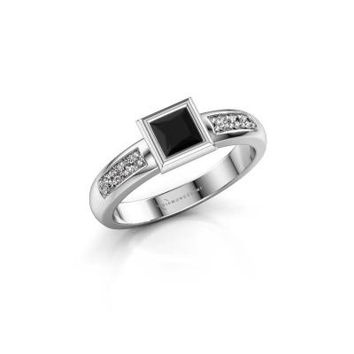 Steckring Lieke Square 925 Silber Schwarz Diamant 0.60 crt