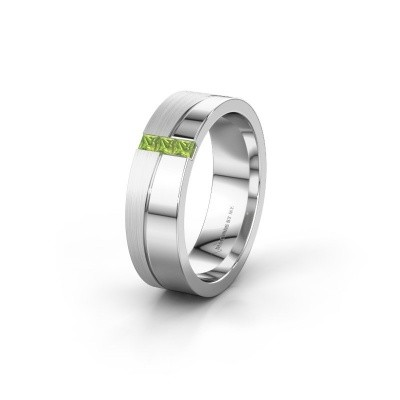 Wedding ring WH0906L16A 925 silver peridot ±6x1.7 mm