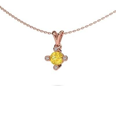 Foto van Hanger Cornelia Round 585 rosé goud gele saffier 5.5 mm