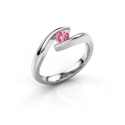 Foto van Aanzoeksring Alaina 950 platina roze saffier 4 mm