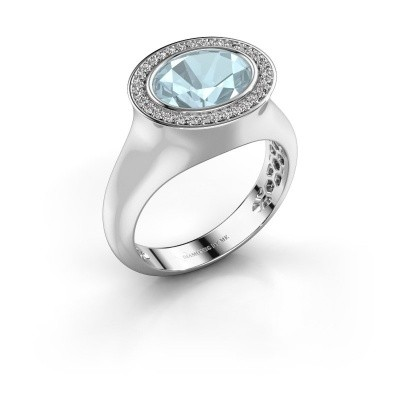 Ring Phebe 375 white gold aquamarine 10x8 mm