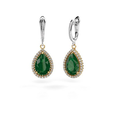 Drop earrings Tilly per 4 585 gold emerald 12x8 mm