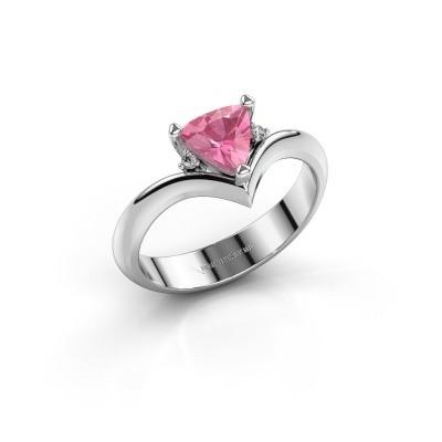 Ring Arlette 585 witgoud roze saffier 7 mm