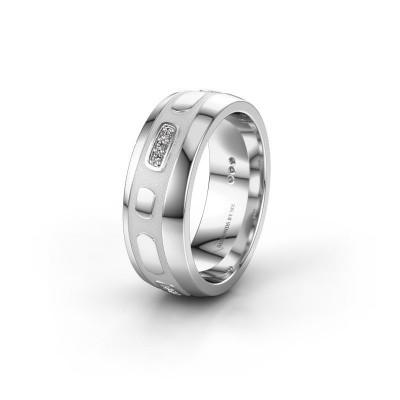 Trouwring WH2002L 375 witgoud diamant ±7x2 mm