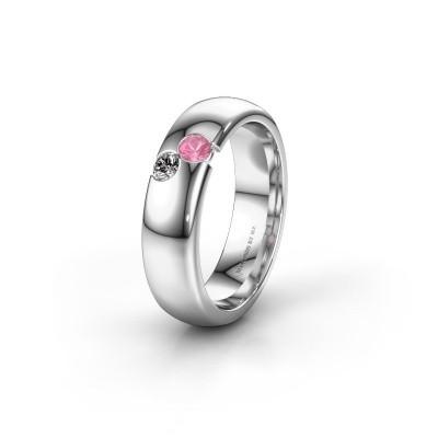 Trouwring WH1003L26C 585 witgoud roze saffier ±6x2.2 mm