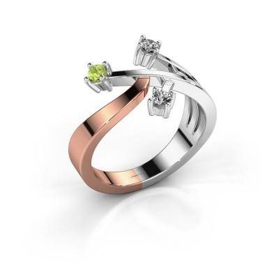 Ring Lillian 585 rosé goud peridoot 2.5 mm