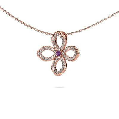 Collier Chelsea 375 or rose améthyste 2 mm