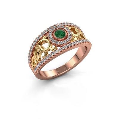 Foto van Ring Lavona 585 rosé goud smaragd 3.4 mm