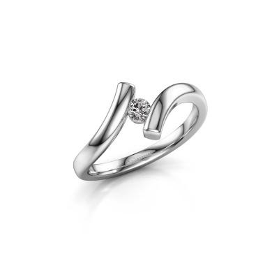 Photo de Bague Amy 585 or blanc diamant synthétique 0.10 crt