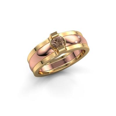 Ring Jade 585 Roségold Braun Diamant 0.25 crt