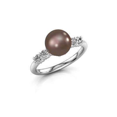 Foto van Ring Cecile 925 zilver bruine parel 8 mm
