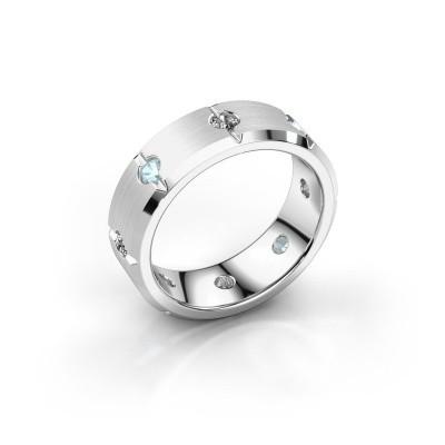 Men's ring Irwin 375 white gold aquamarine 2.7 mm