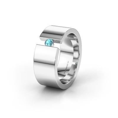 Wedding ring WH0146L18BP 950 platinum blue topaz ±8x2 mm